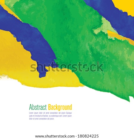 Water color background in Brazil flag concept. Can be used in cover design, book design, website background, CD cover, advertising.  - stock vector