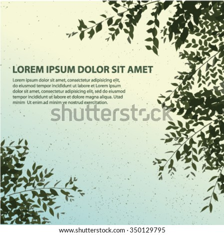 water color effect green leaves and blowing tree - stock vector
