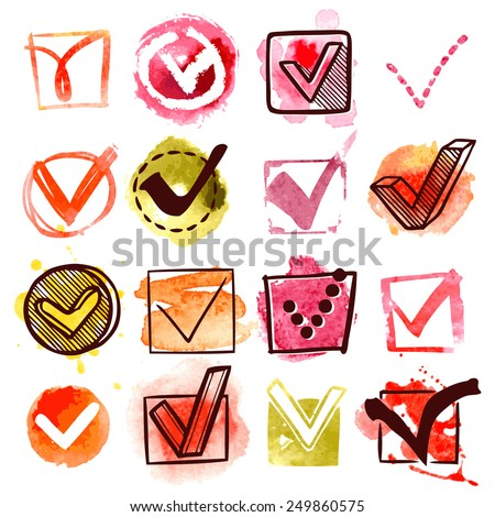 Water colored check questionnaire box accept mark set isolated vector illustration - stock vector