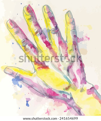 Water-colour drawing of humans hand - stock vector