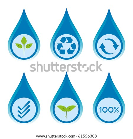 Water conservation and recycling concept set 3. - stock vector