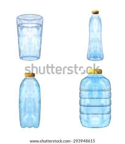 Water containers, bottles collection, set made in watercolor technique. Water packaging icon, banner, logo - stock vector