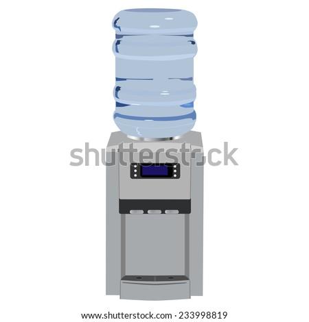 Water cooler, office water cooler, water dispenser, water bottle - stock vector