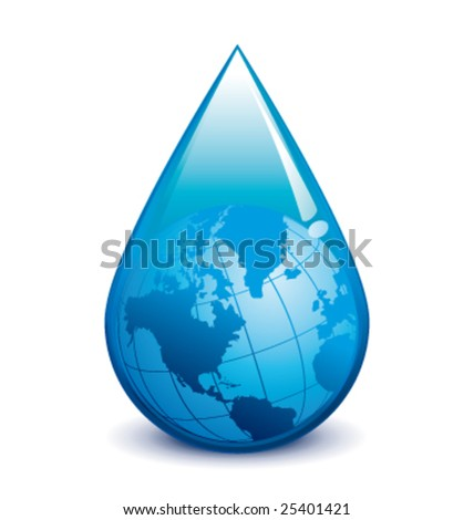 Water crisis vector droplet with world - stock vector