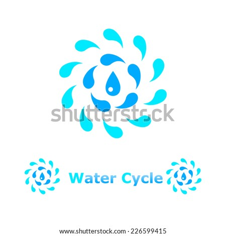 Water cycle concept illustration on white background, 2d, vector, eps 8 - stock vector