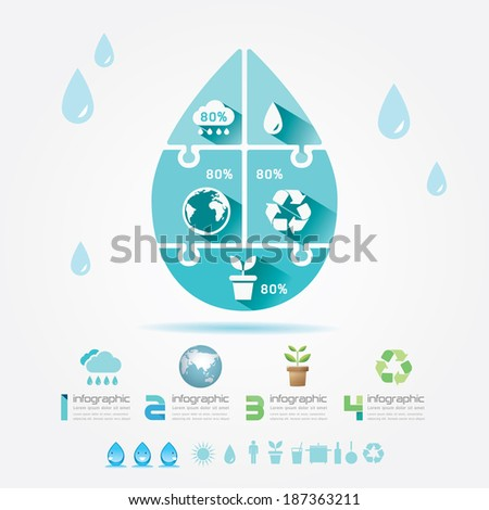Water Design Elements Ecology Infographic Jigsaw Concept.Vector Illustration. - stock vector