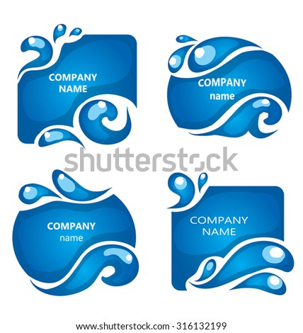 Water design elements. Water icon. Collection of water shapes for logo. Blue water frames with drops and wave. Company name background. For beauty industry, as pure quality sign. - stock vector
