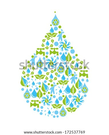 water design over white background vector illustration - stock vector