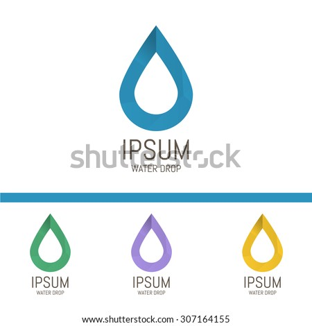Water drop abstract vector logo design template. Ecology creative concept icon. Mineral natural water idea. Water drop symbol. Ecology Business tecnology. Low poly. - stock vector
