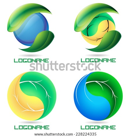 Water Drop and Spring Leaf like Yin Yang Symbol . Ecology Logo Collection . Organic Icon . Vector Illustration .  - stock vector