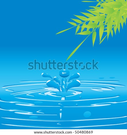 water drop and the tree leaves - stock vector