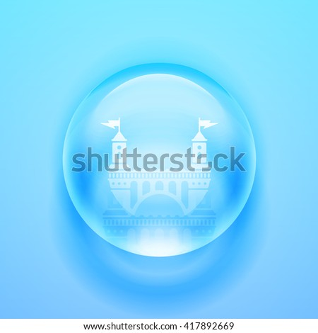 Water drop. Glass sphere. Bubble. Glass ball. Realistic vector illustration EPS. Castle icon. - stock vector