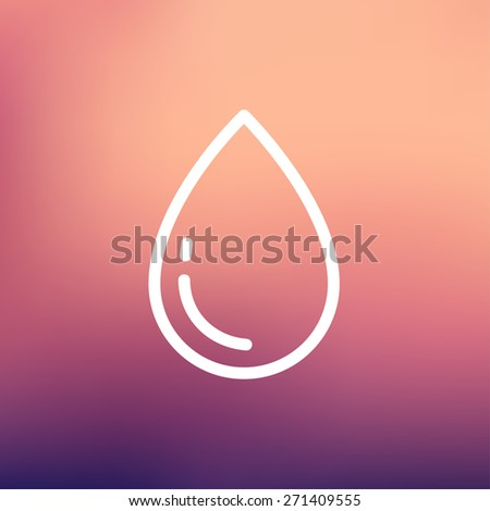 Water drop icon thin line for web and mobile, modern minimalistic flat design. Vector white icon on gradient mesh background. - stock vector