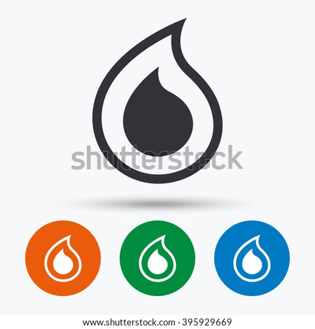 Water drop icon. Water drop flat symbol. Water drop art illustration. Water drop flat sign. Water drop graphic icon. Flat icons in circles. Round buttons for web. - stock vector