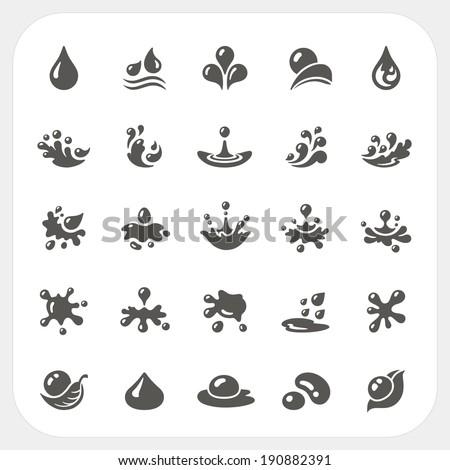 Water drop icons set - stock vector