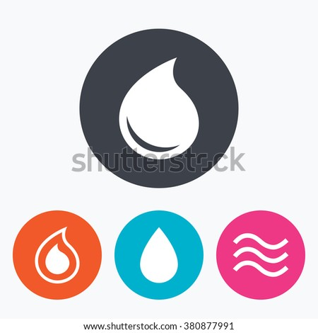 Water drop icons. Tear or Oil drop symbols. Circle flat buttons with icon. - stock vector