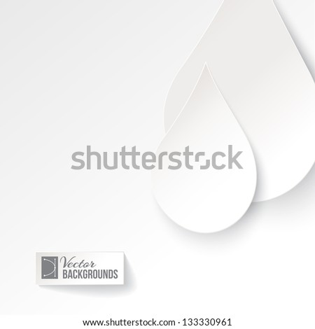 Water drop paper card. Vector illustration, contains transparencies, gradients and effects. - stock vector