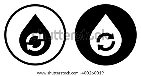 Water Drop Recycle Icon in circle. Vector illustration - stock vector