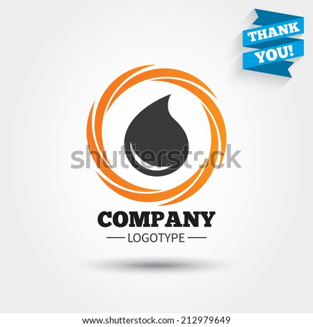 Water drop sign icon. Tear symbol. Business abstract circle logo. Logotype with Thank you ribbon. Vector - stock vector