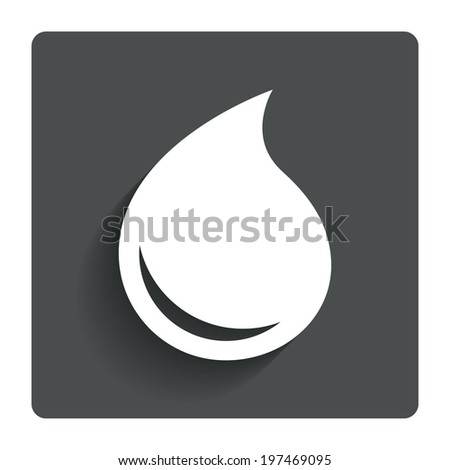 Water drop sign icon. Tear symbol. Gray flat button with shadow. Modern UI website navigation. Vector - stock vector