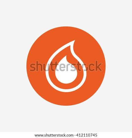 Water drop sign icon. Tear symbol. Orange circle button with icon. Vector - stock vector