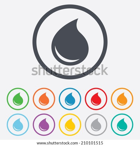 Water drop sign icon. Tear symbol. Round circle buttons with frame. Vector - stock vector