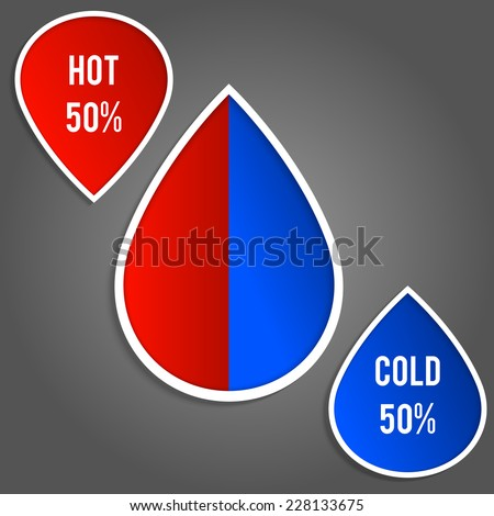Water drop simple Infographic. Hot or cold water sign. Vector illustration. - stock vector