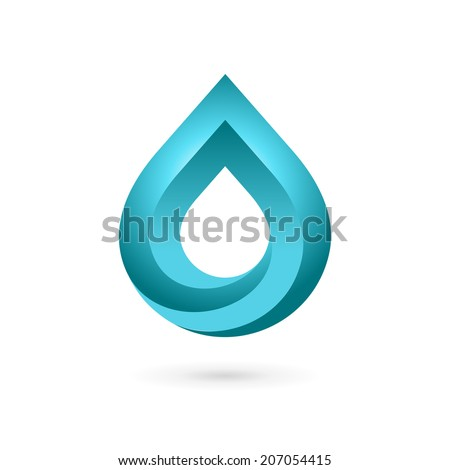 Water drop symbol logo design template icon. May be used in ecological, medical, chemical, food and oil design. - stock vector