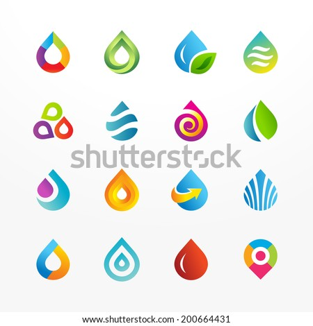 Water drop symbol vector icon set. Collection of colorful signs. May be used in ecological, medical, chemical, food and oil design. - stock vector