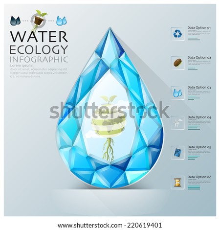 Water Drop Three Dimension Polygon Ecology And Environment Infographic Design Template - stock vector
