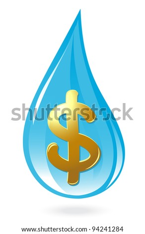 Water drop with dollar symbol