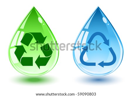 water drop with recycle symbol - stock vector