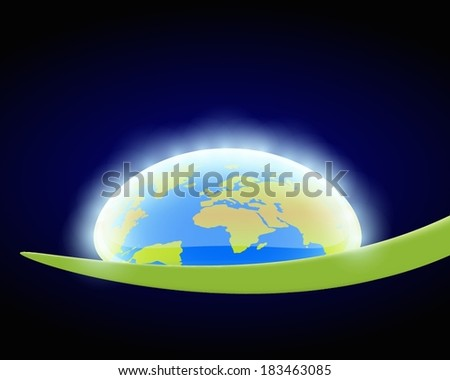 Water drop with world globe inside on a leaf - stock vector