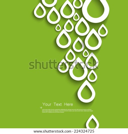Water Droplets Green Background - stock vector
