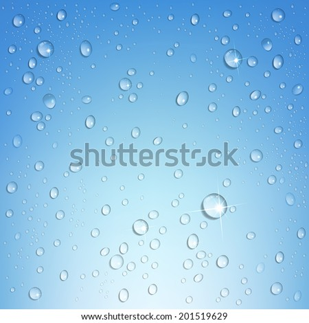 water droplets on a blue background - stock vector
