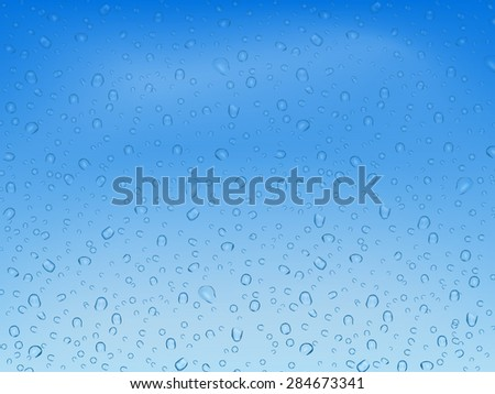 Water droplets on glass against the blue sky with cloud - stock vector