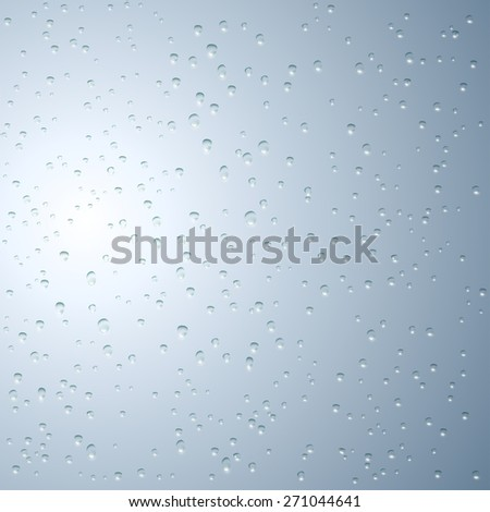 Water droplets on the glass. Vector image. - stock vector