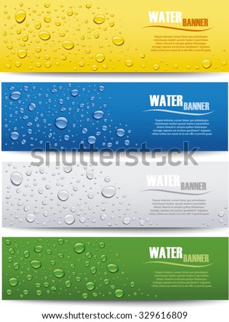 water drops banner on different color backgrounds - stock vector
