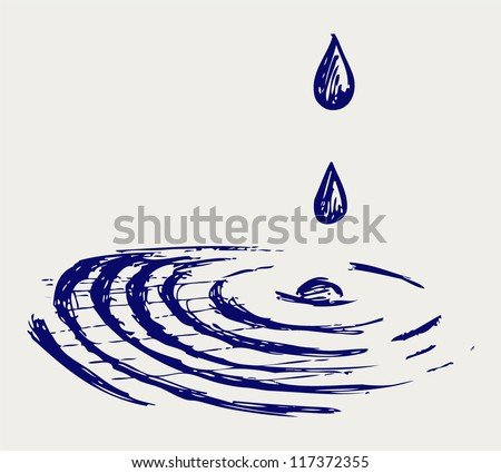 Water drops. Doodle style - stock vector