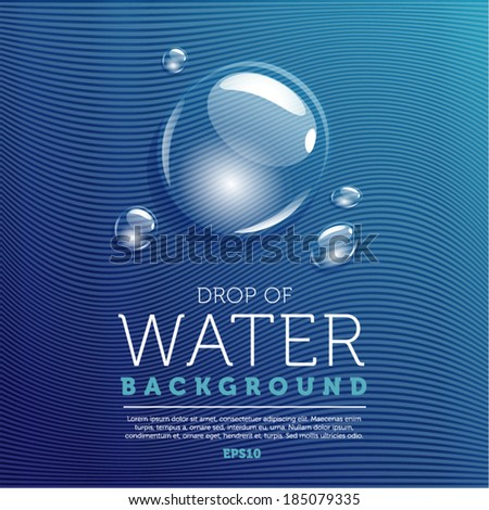 Water drops on blue background - stock vector