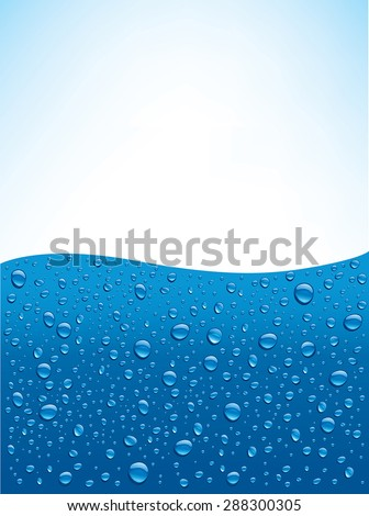 water drops on blue background with place for text - stock vector