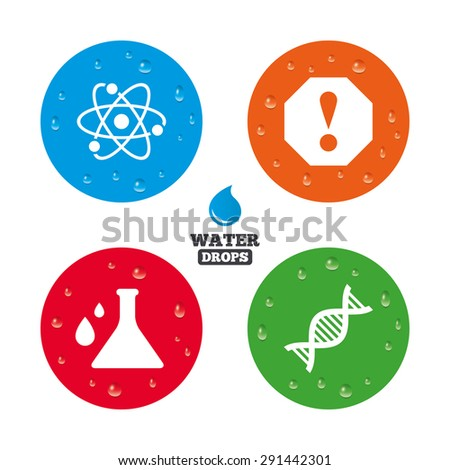 Water drops on button. Attention and DNA icons. Chemistry flask sign. Atom symbol. Realistic pure raindrops on circles. Vector - stock vector