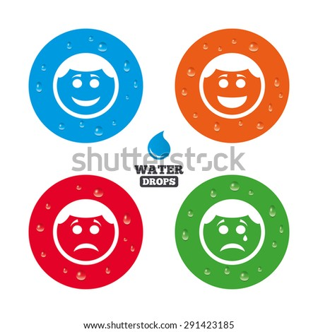 Water drops on button. Circle smile face icons. Happy, sad, cry signs. Happy smiley chat symbol. Sadness depression and crying signs. Realistic pure raindrops on circles. Vector - stock vector