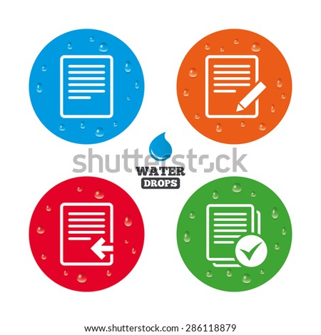 Water drops on button. File document icons. Upload file symbol. Edit content with pencil sign. Select file with checkbox. Realistic pure raindrops on circles. Vector - stock vector
