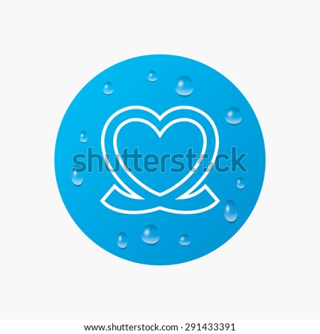 Water drops on button. Heart ribbon sign icon. Love symbol. Realistic pure raindrops. Blue circle. Vector - stock vector