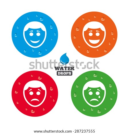 Water drops on button. Human smile face icons. Happy, sad, cry signs. Happy smiley chat symbol. Sadness depression and crying signs. Realistic pure raindrops on circles. Vector - stock vector