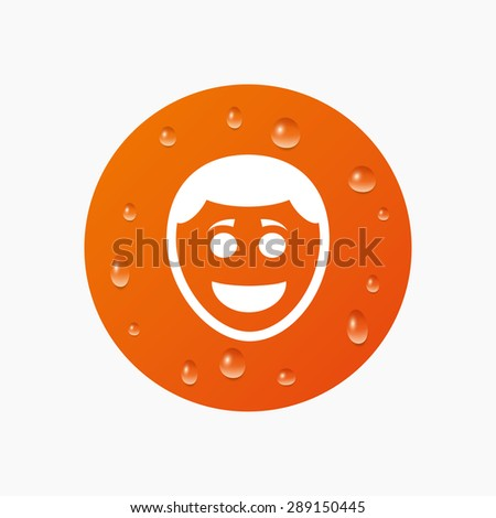Water drops on button. Smile face sign icon. Happy smiley with hairstyle chat symbol. Realistic pure raindrops. Orange circle. Vector - stock vector