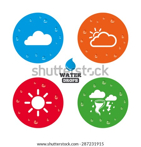 Water drops on button. Weather icons. Cloud and sun signs. Storm or thunderstorm with lightning symbol. Gale hurricane. Realistic pure raindrops on circles. Vector - stock vector