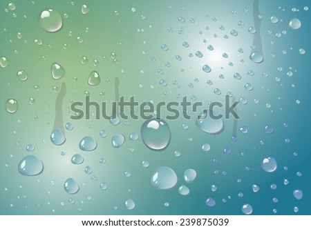 Water drops on glass with blue and green background - stock vector