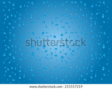 Water drops on glass with blue background - stock vector